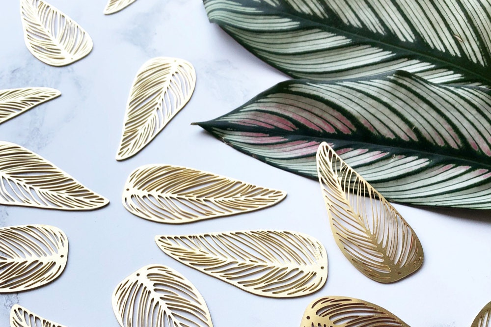 Gold leaf pieces waiting to become earrings.