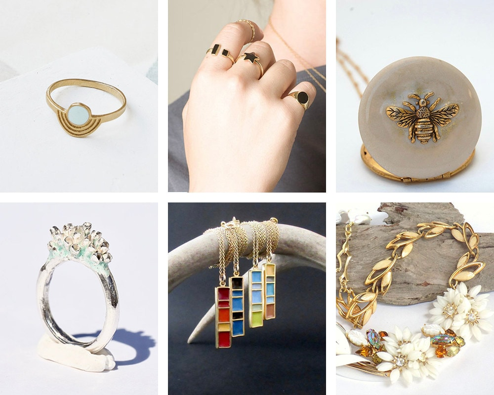 A collage of enamel jewelry from Etsy