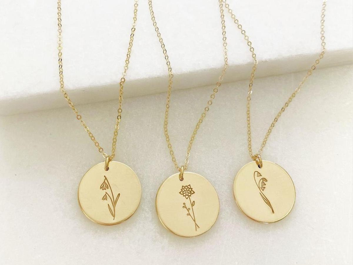 Birth flower necklaces from The Silver Wren
