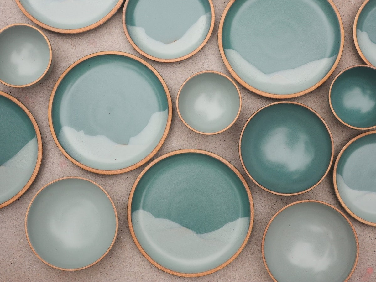 Sea-blue ceramic dinner plates from Etsy