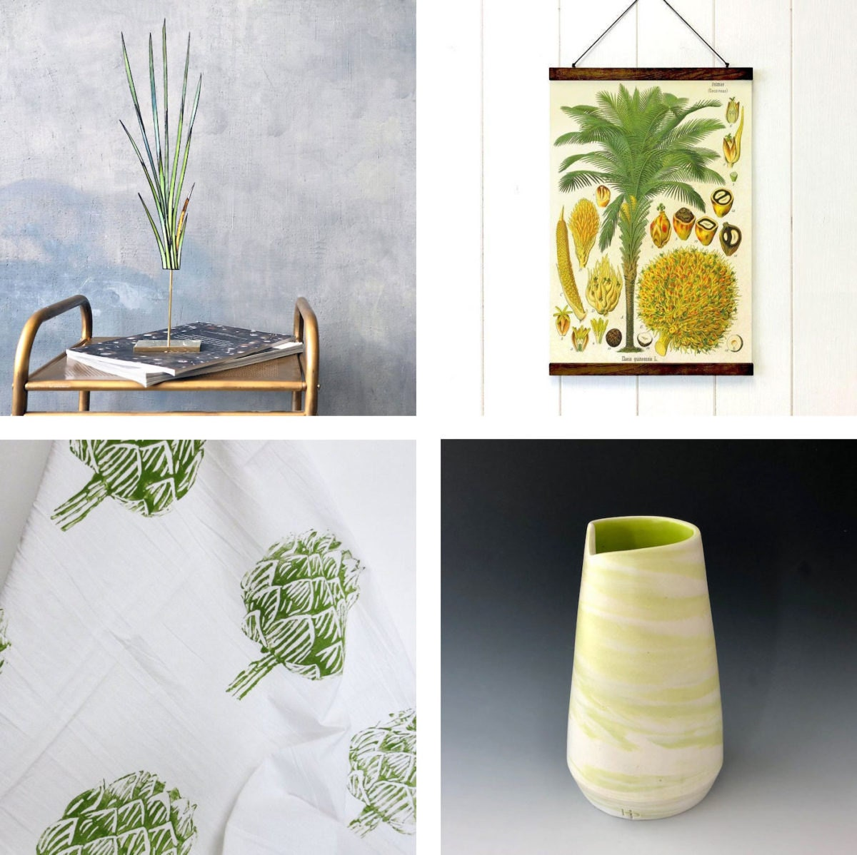Collage of four peridot-colored home decor items: a stained-glass suncatcher, a botanical print, a ceramic vase, and a printed tea towel