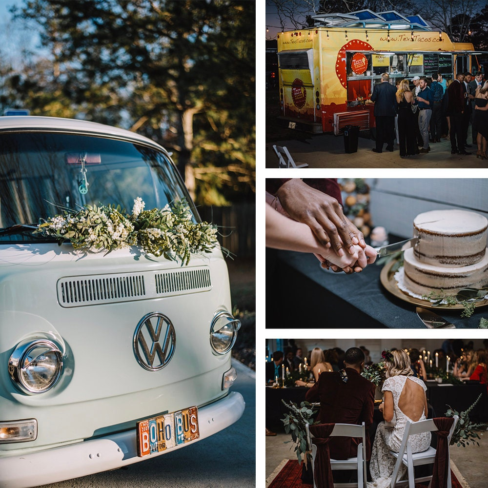 A collage of details from Emily and Terrell's reception, including the mint green van-turned-photobooth, the taco truck, the cake, and a photo of Emily and Terrell eating dinner at their sweetheart table