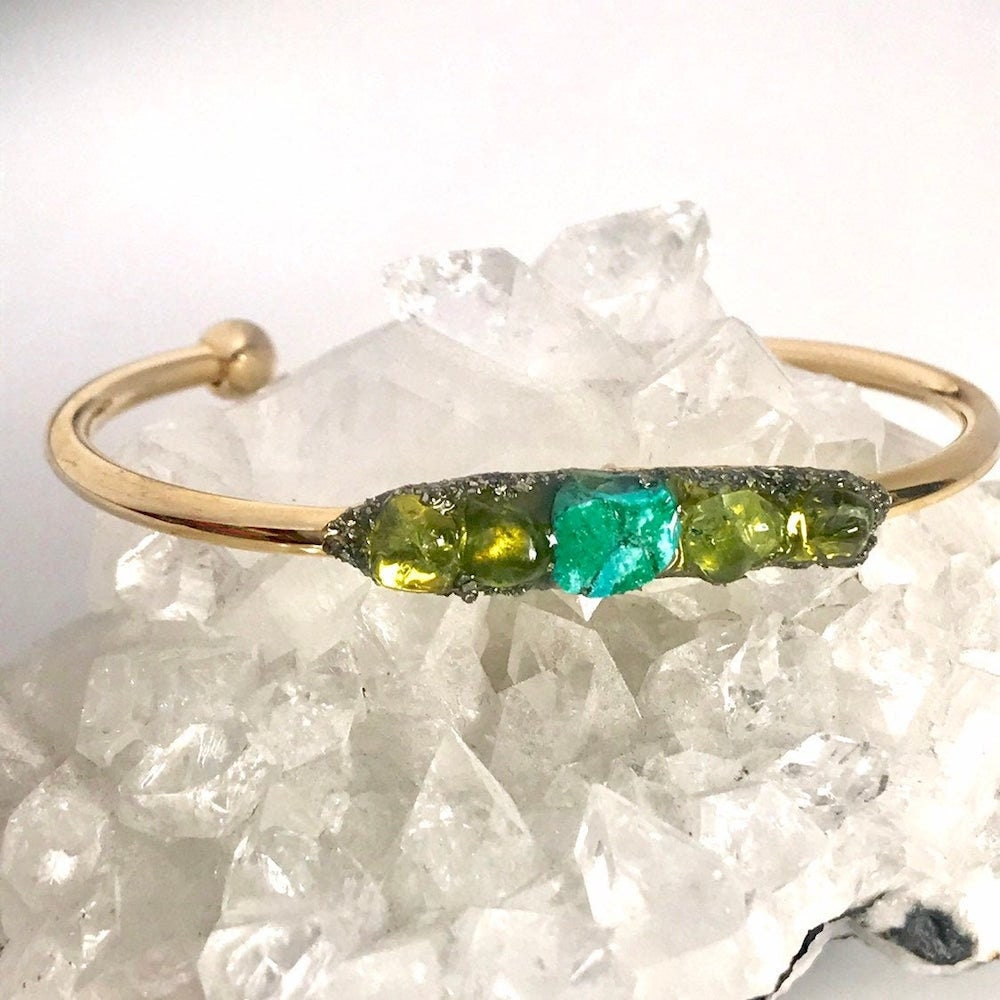 Peridot and turquoise cuff from I Was Born to Shine