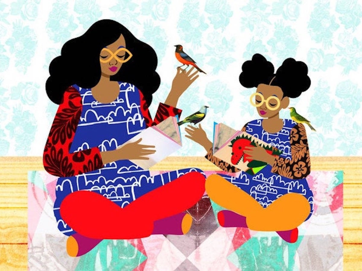 An illustration of a mother and daughter at home reading together from The Pairabirds
