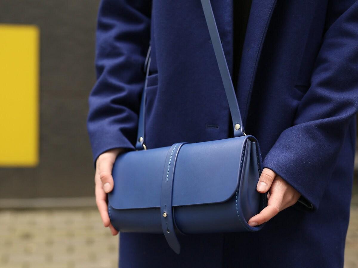 Blue leather handbag from SunrayFameliWorshop