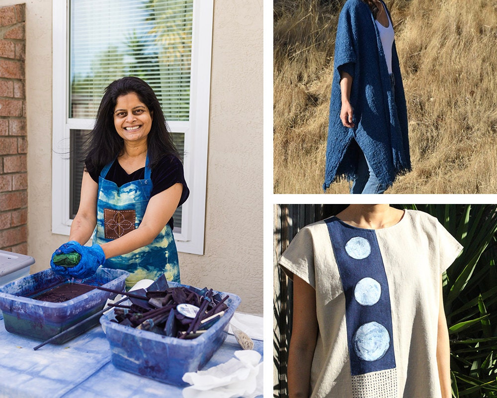 A portrait of apparel designer Rajni Kavula collaged with hand-dyed items from the Adroit collection