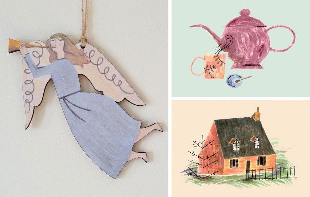Assorted postcards, prints, and decor from Jessica Kopetzki