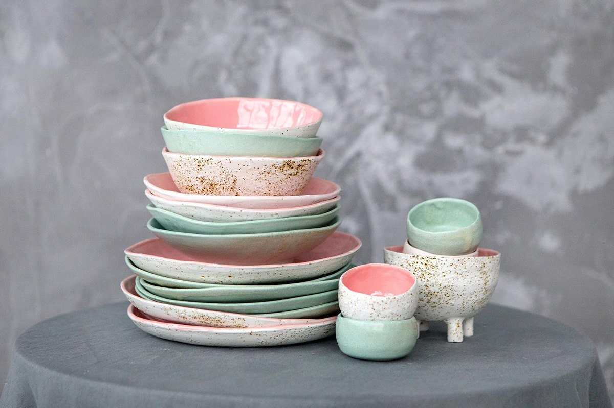 Colorful dinnerware from Etsy