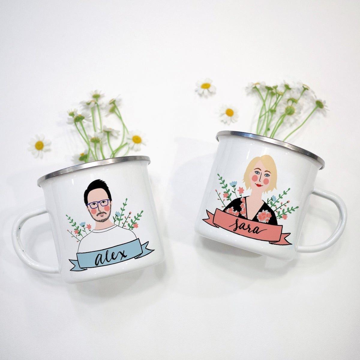 Enamel portrait mugs from Avonnie Studio