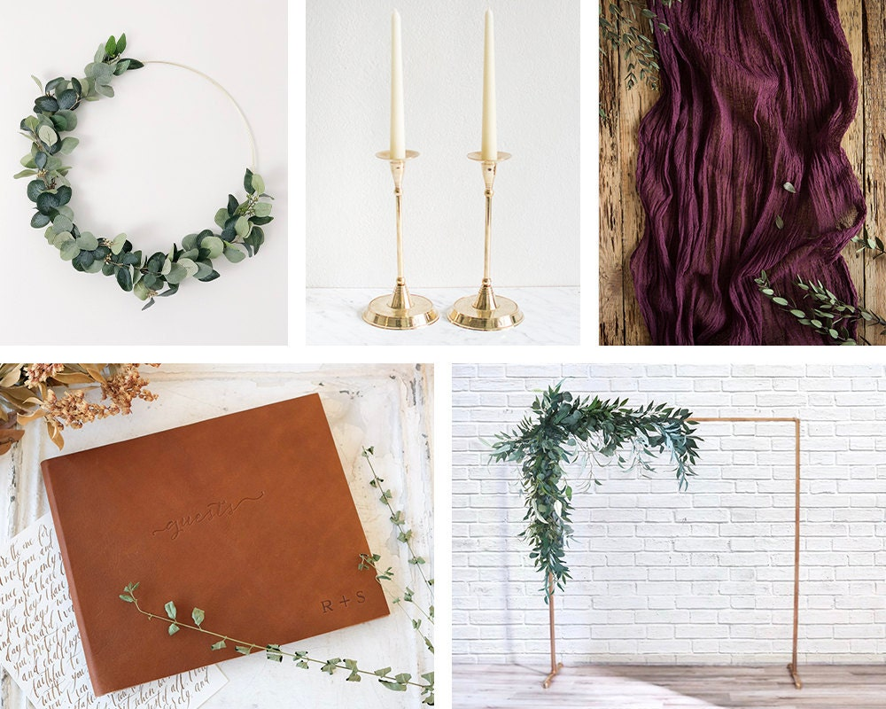 A collage of decor items from Etsy, hand-picked to match the style of Emily and Terrell's wedding