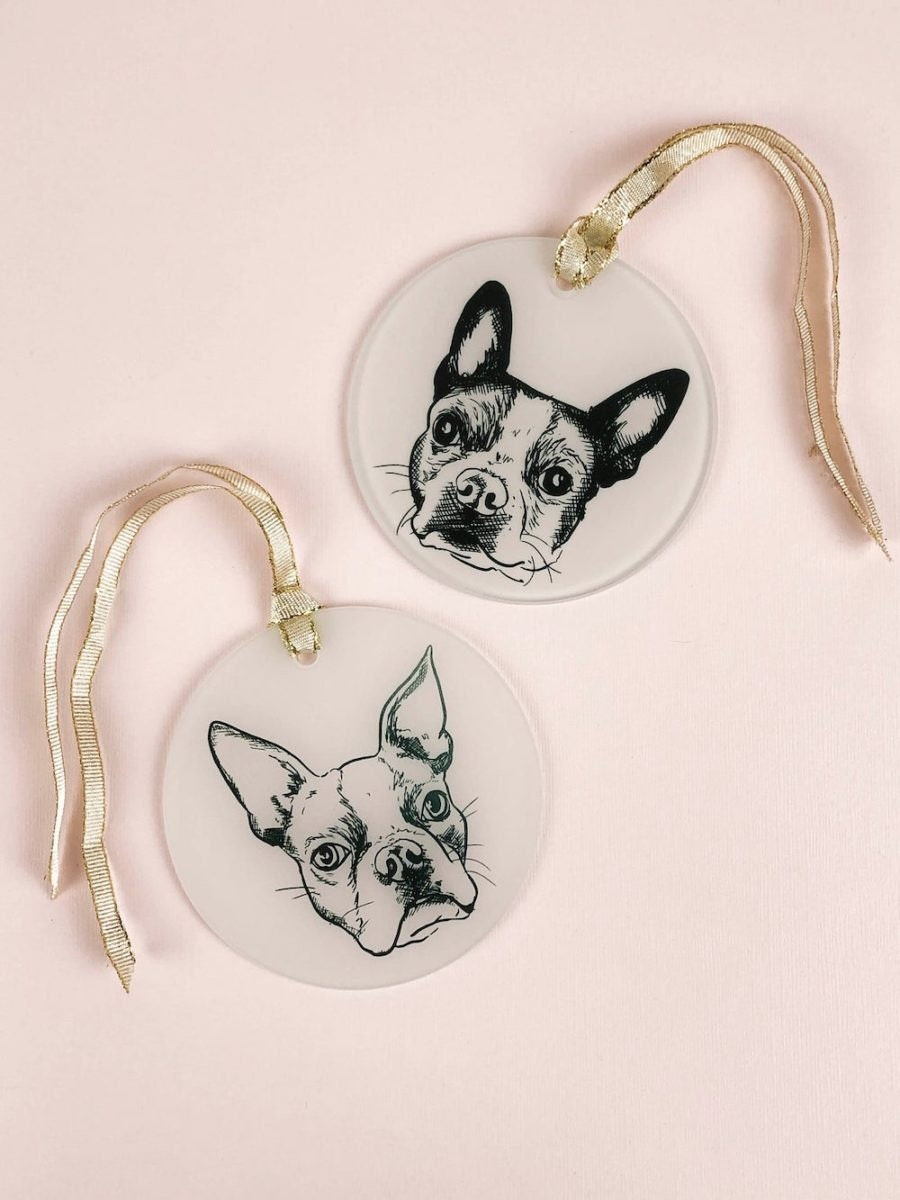 Personalized pet ornaments from The Emerald Hound