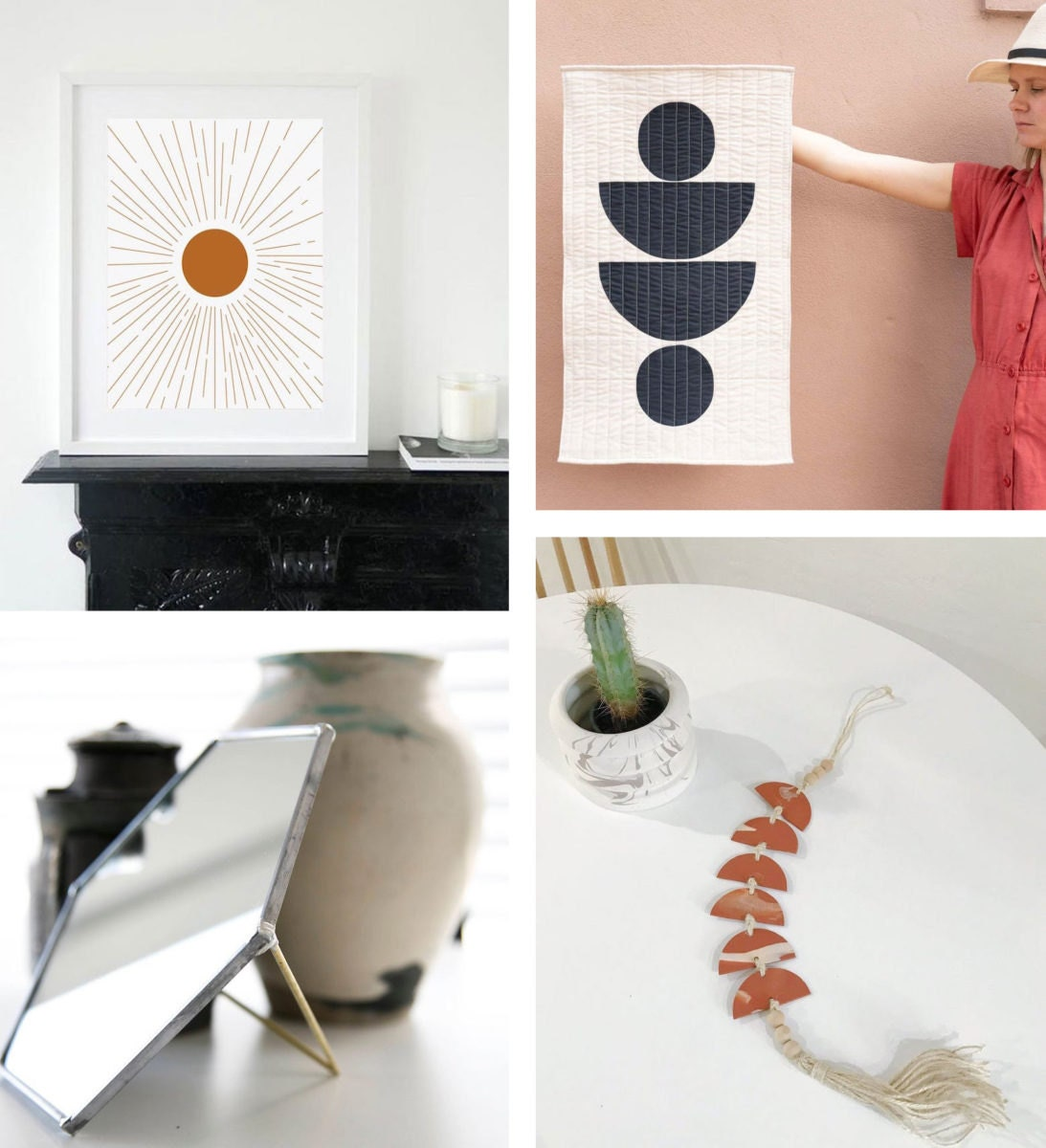 Collage of four gallery wall finds