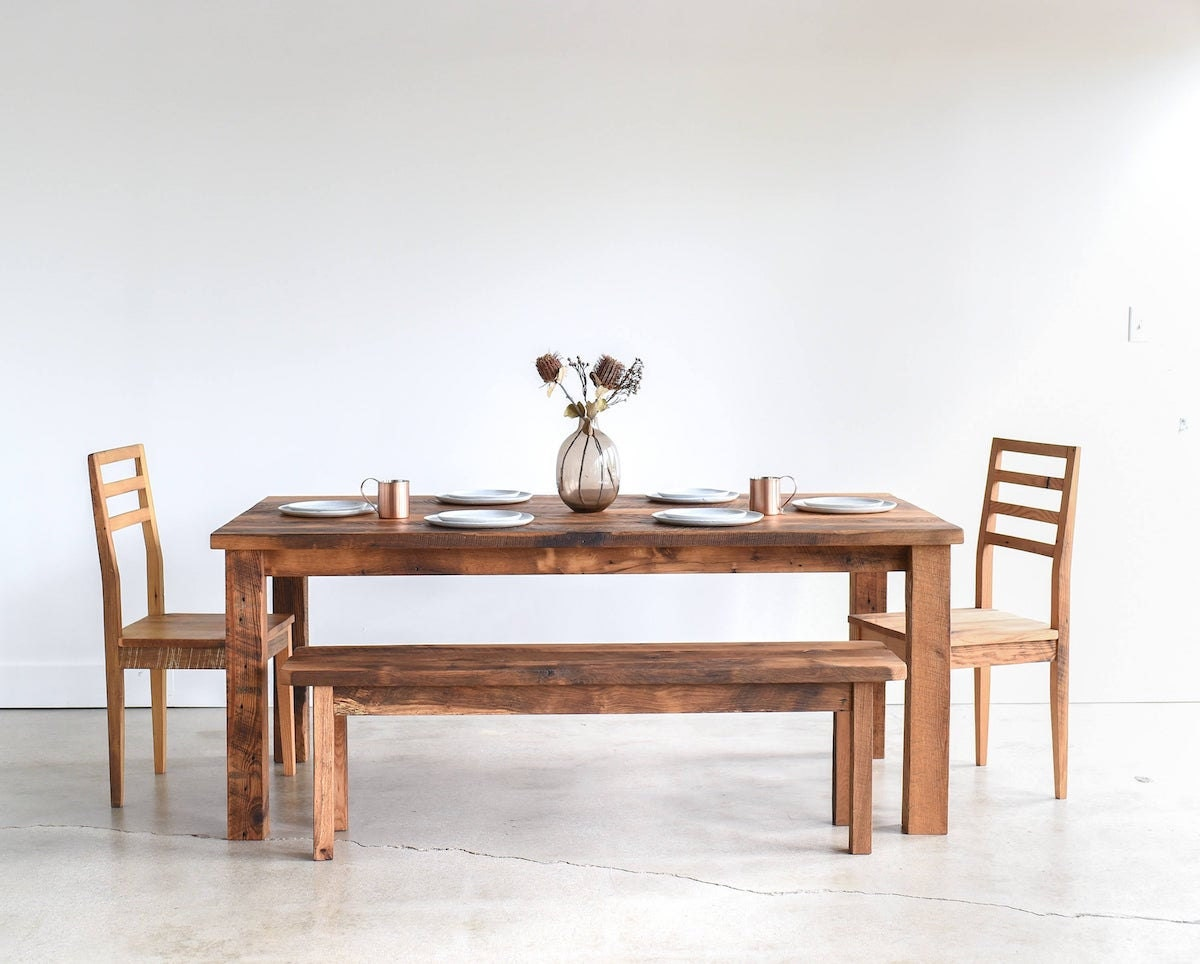 Reclaimed wood dining table from What WE Make