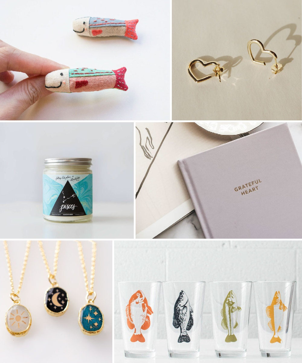 A collage of dreamy birthday gift ideas hand-picked for Pisces