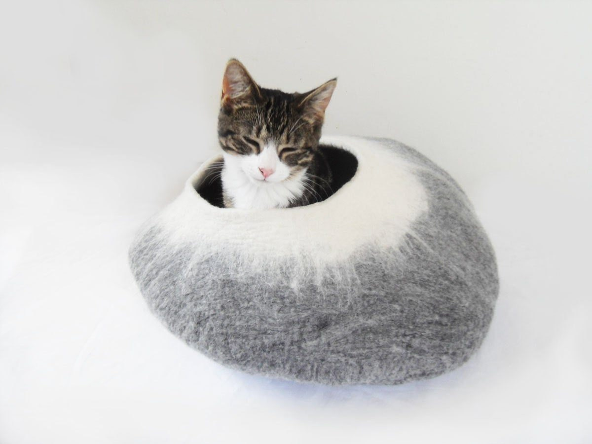 Felted wool cat cave from Love Cat Caves