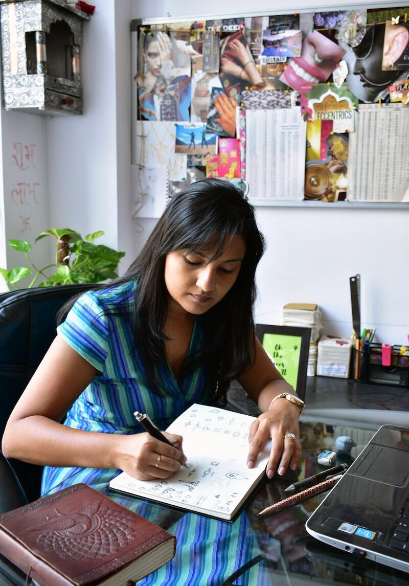 Abhika Jewels co-owner Madhulika Anchalia sketches new designs