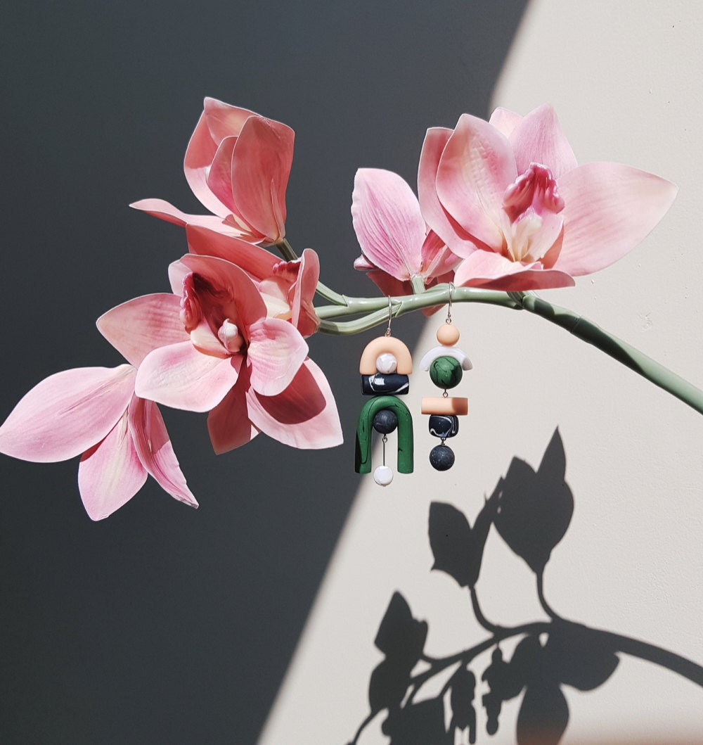 Chunky asymmetrical statement earrings from TSUNJA