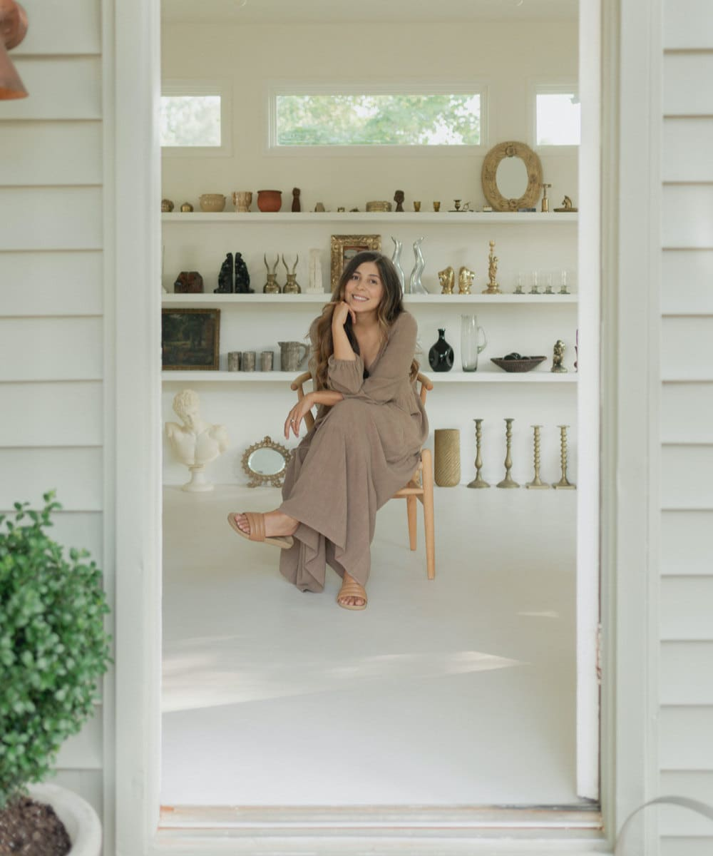 A portrait of Otherwise Shoppe seller Mara Caballero in her home studio.