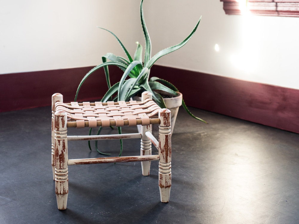 Styled shot of finished upcycled stool with succulent in background