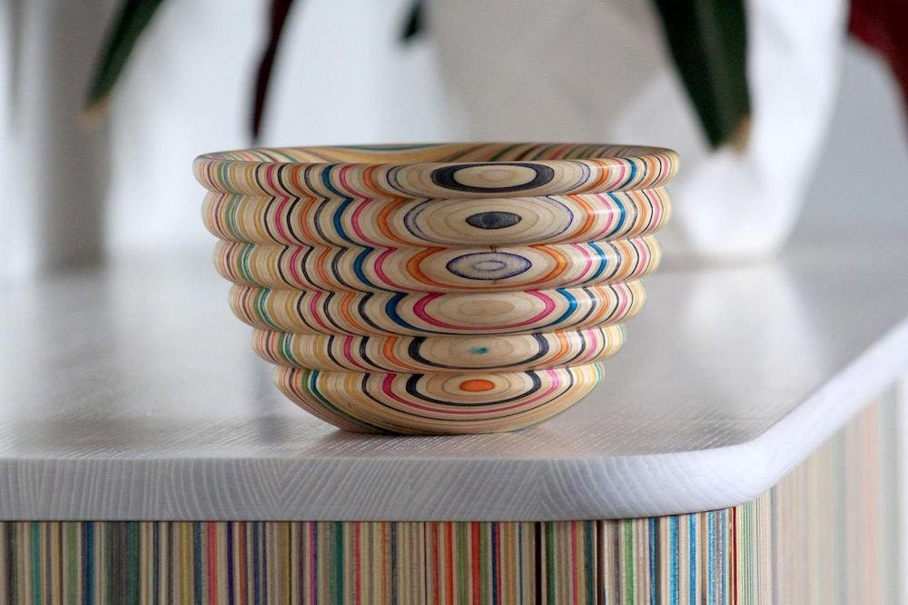 A curved decorative skateboard bowl from AdrianMartinus