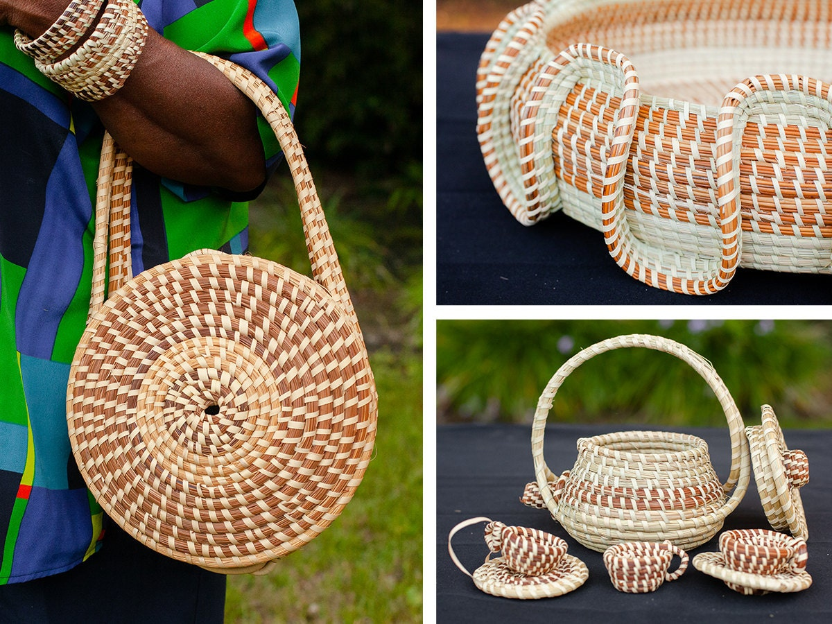 Sweetgrass baskets from Gullah makers on Etsy