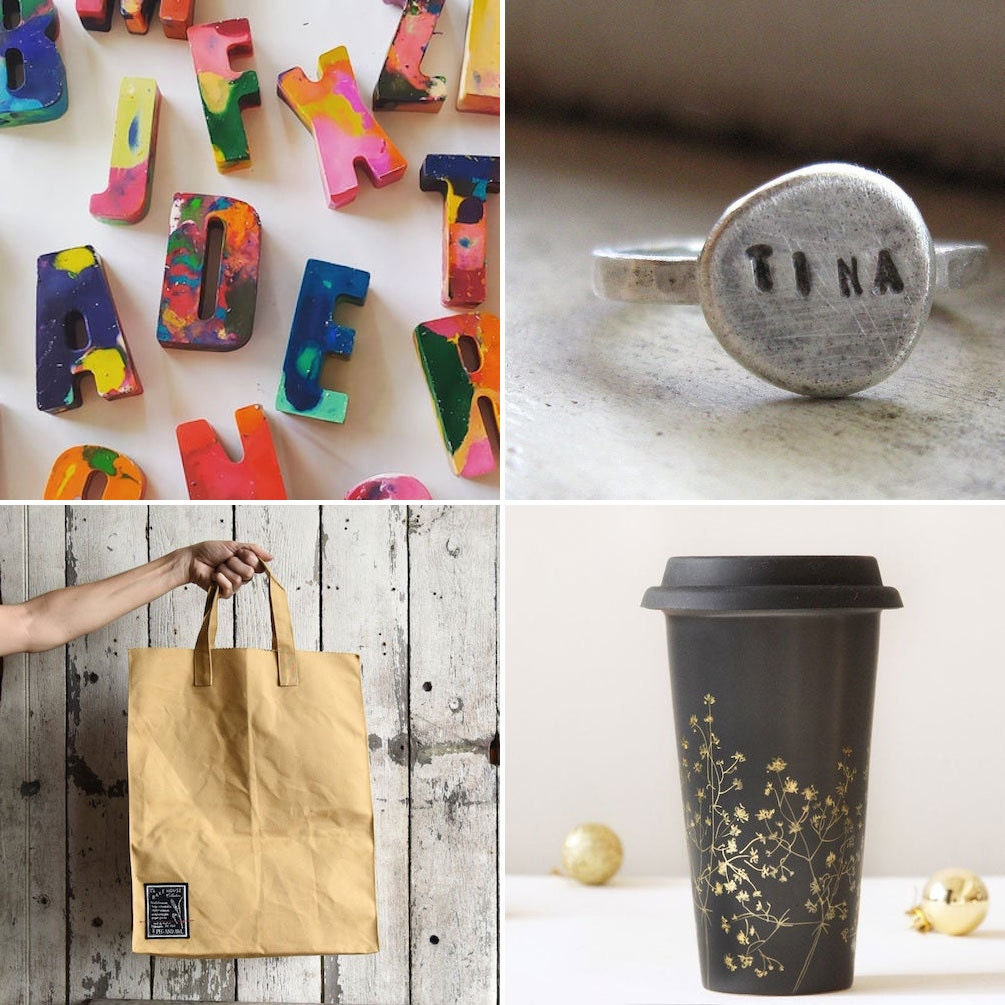 Collage of eco-friendly Etsy items: a set of recycled crayons, a personalized repurposed silver ring, a reusable ceramic travel mug, and a zero-waste tote bag