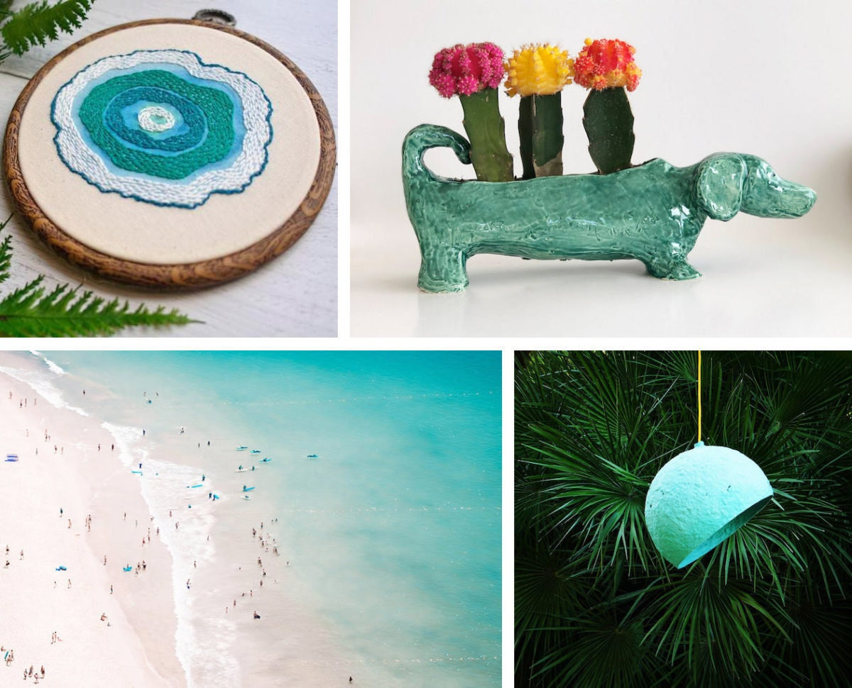 Collage of four turquoise-colored home decor items from Etsy: an embroidery hoop, a planter, a lighting fixture, and a print
