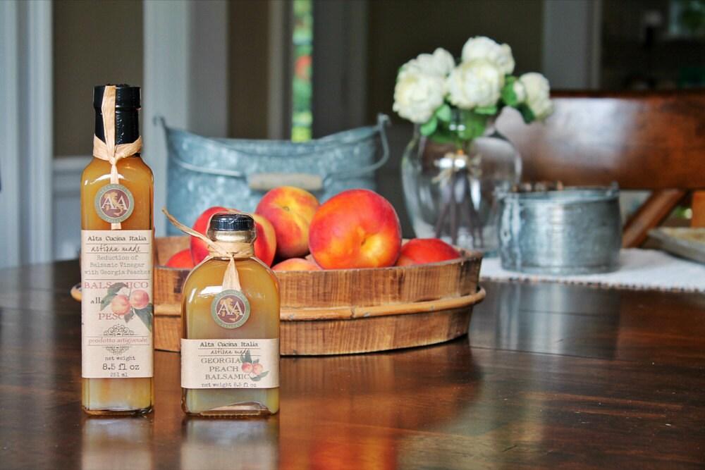 Prettily packaged jars of peach jam