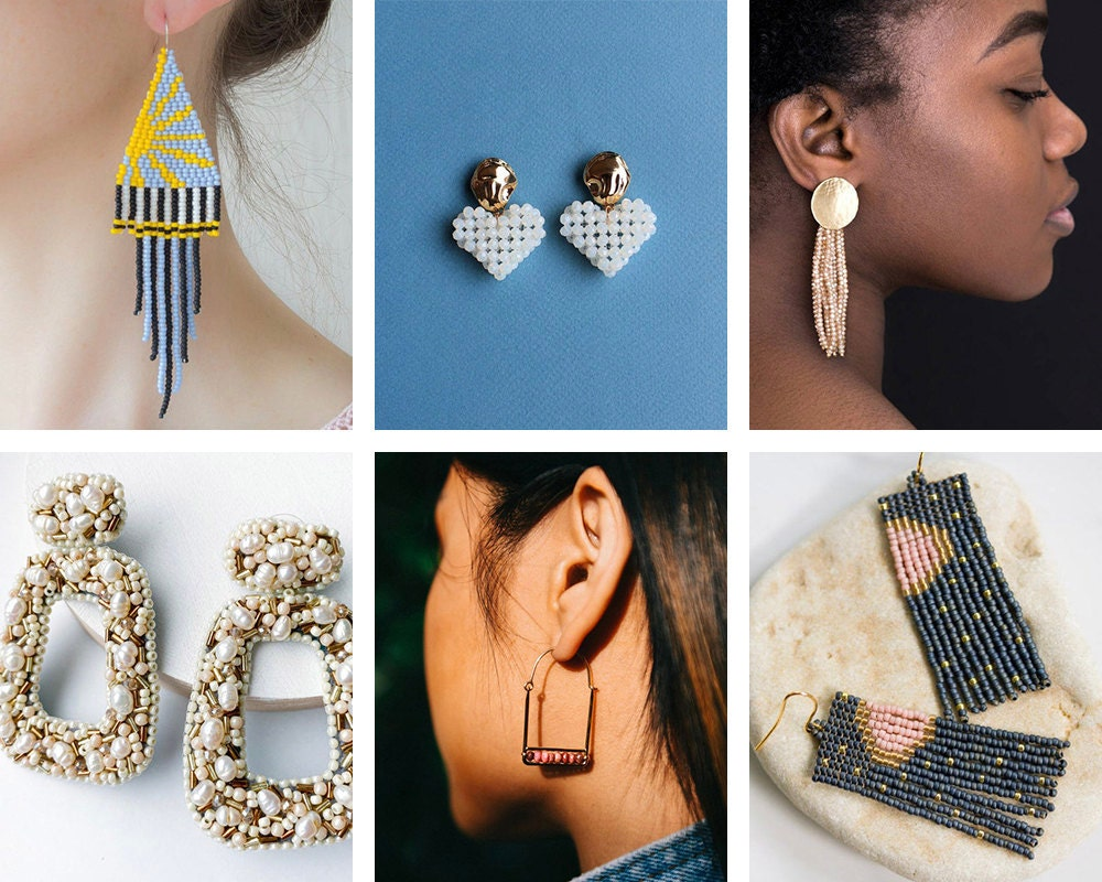 A collage of beaded jewelry from Etsy