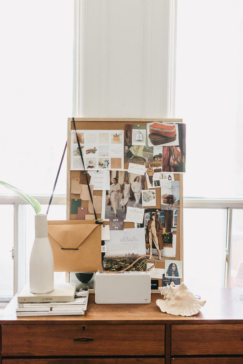 Inspiration mood board with various photos in Jacqueline's office