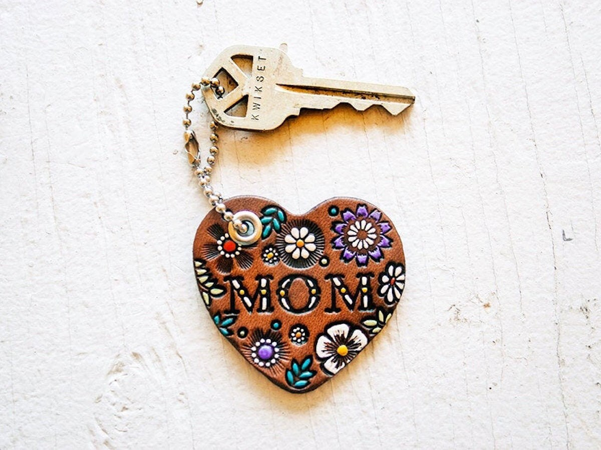 Custom leather keychains and other meaningful Mother's Day gifts from Etsy