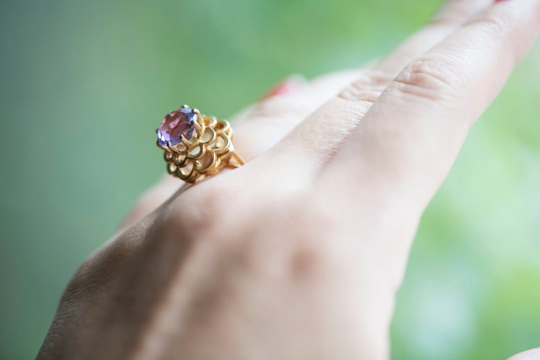 An amethyst cocktail ring from KK Vintage Collection