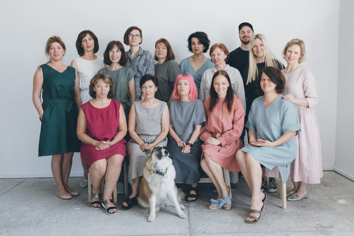 The Linenfox team poses in their studio