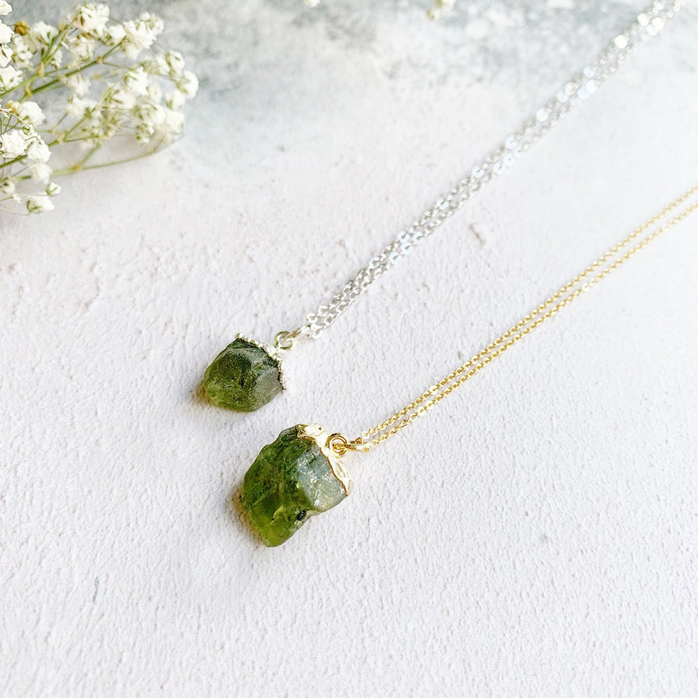 Two peridot raw stone necklaces from Eclectic Eccentricity