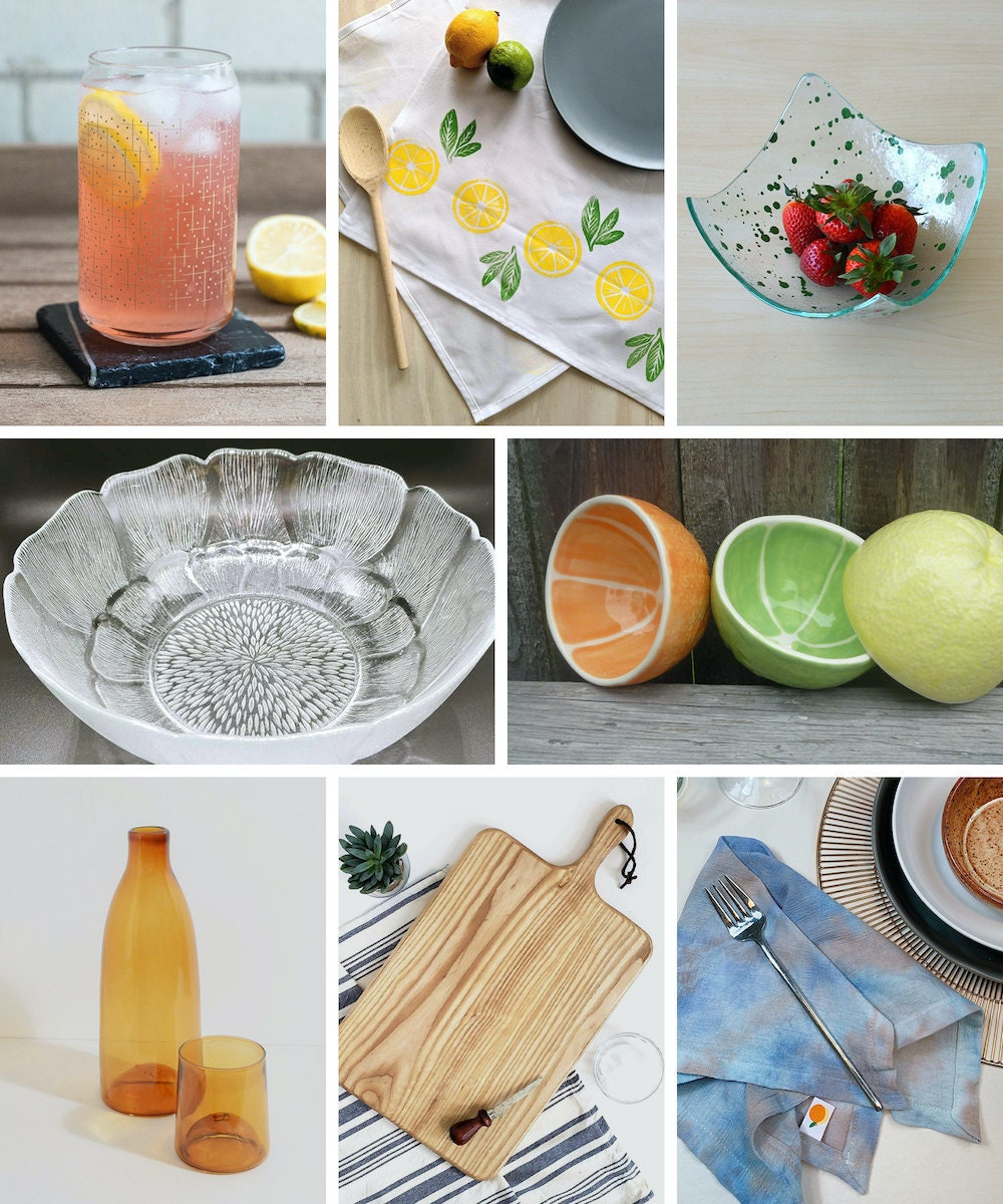 A collage of dining supplies available on Etsy.