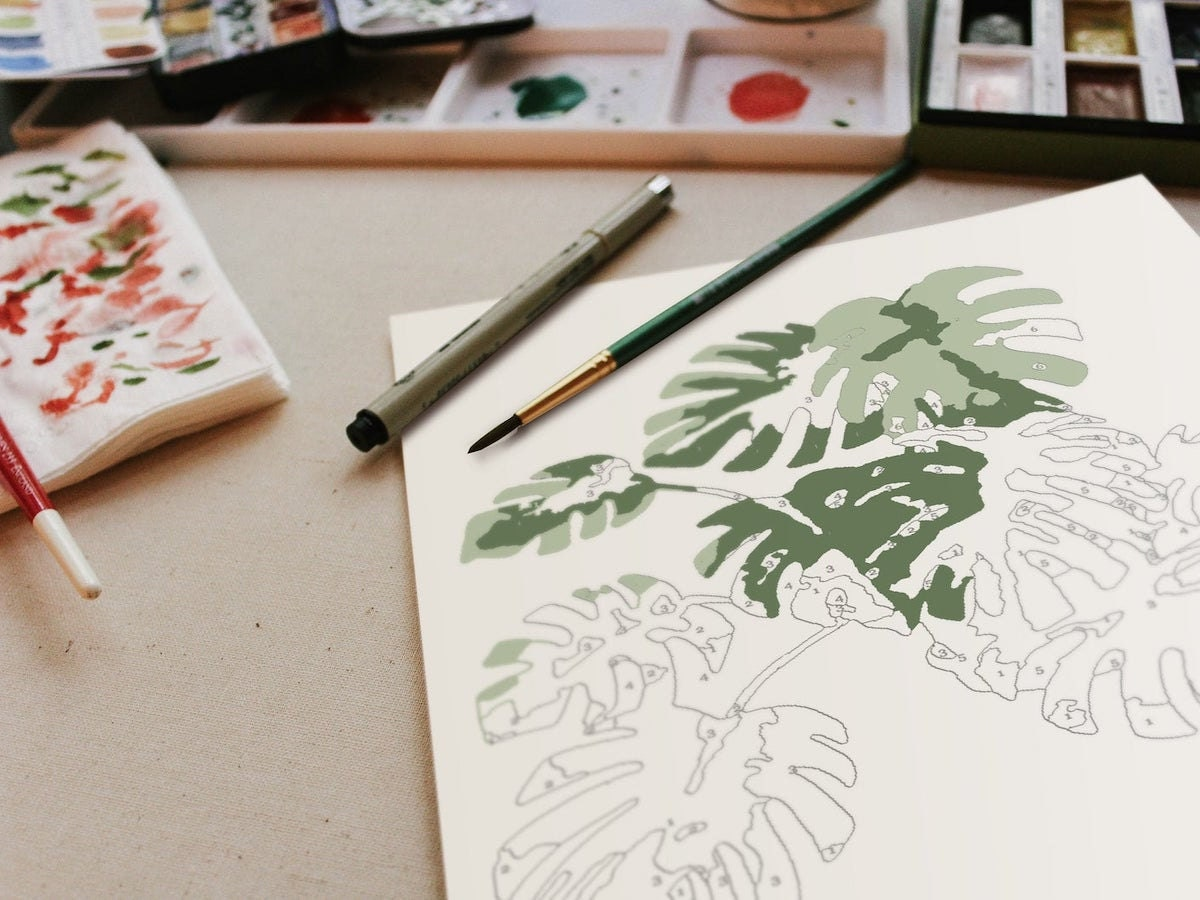 Botanical paint by numbers in progress