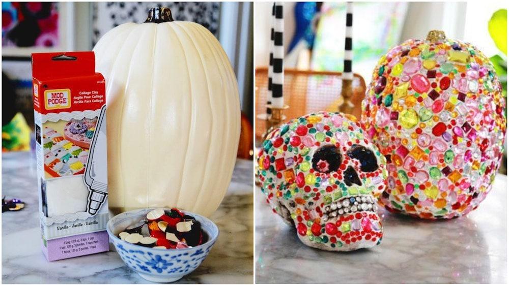 Bejeweled jack-o-lantern tutorial for Halloween, on Etsy