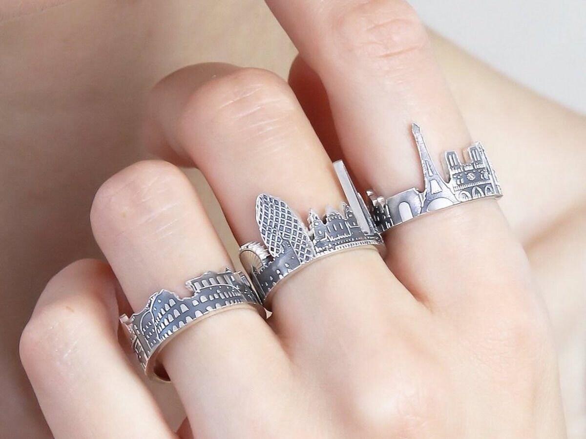 Custom sterling silver skyline rings