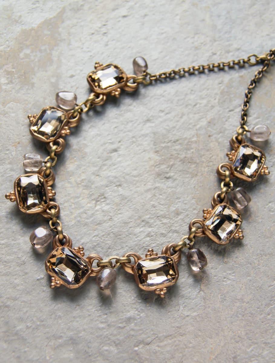 Crystal and quartz choker; $110