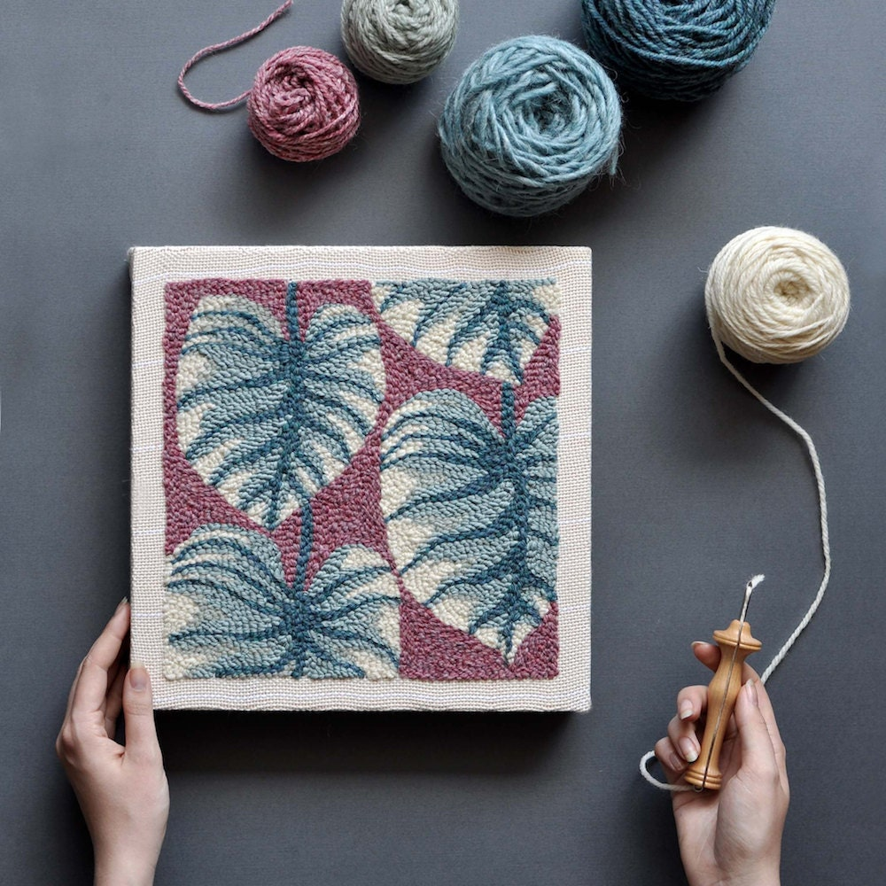 A completed punch-needle embroidery project