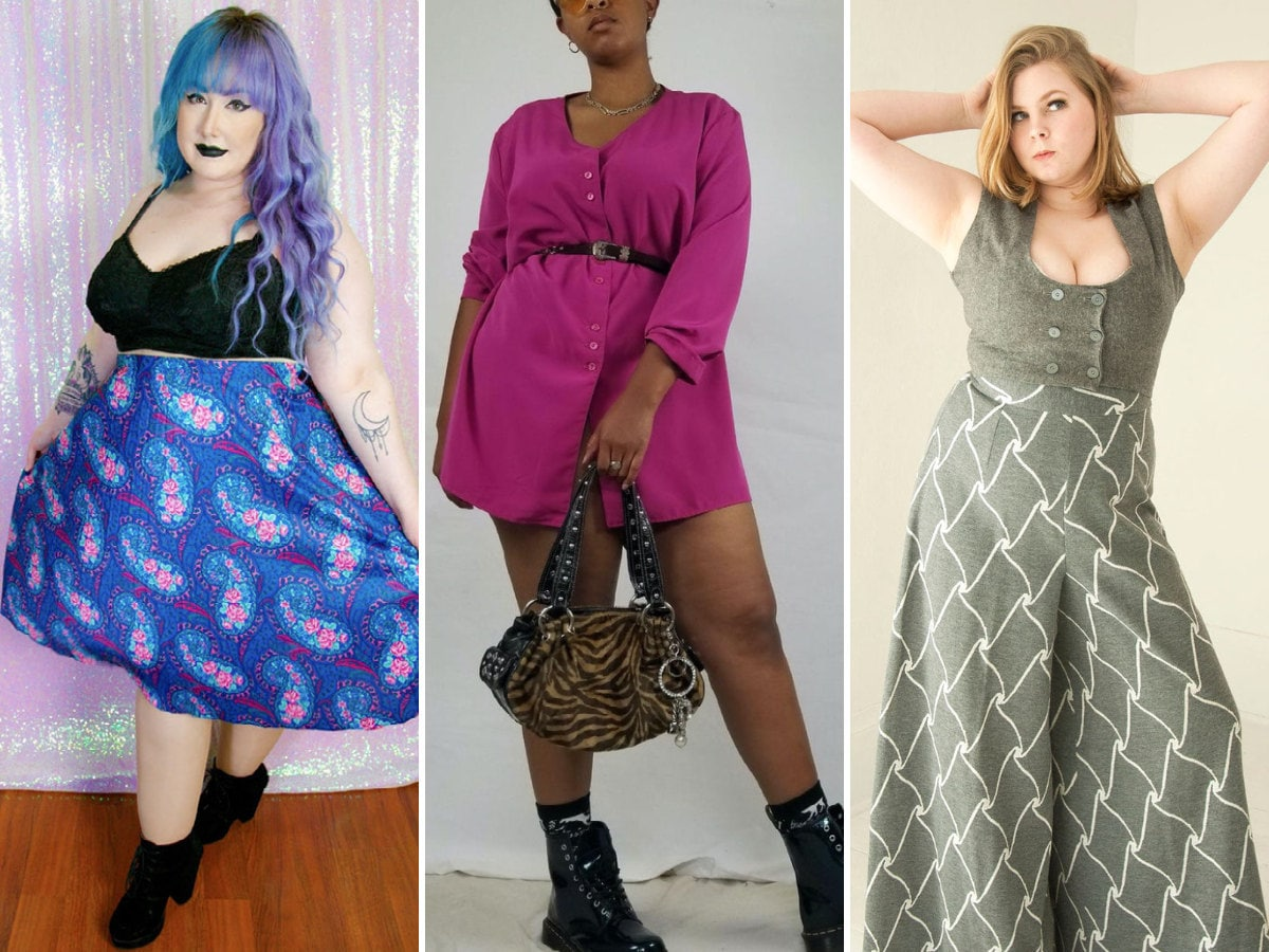 A collage of 3 women modeling plus-size vintage outfits.