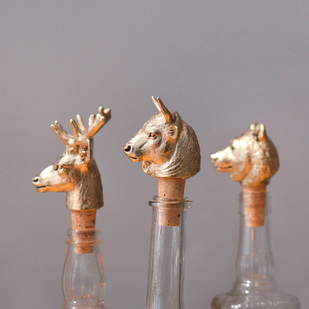Animal head bottle stoppers from Etsy
