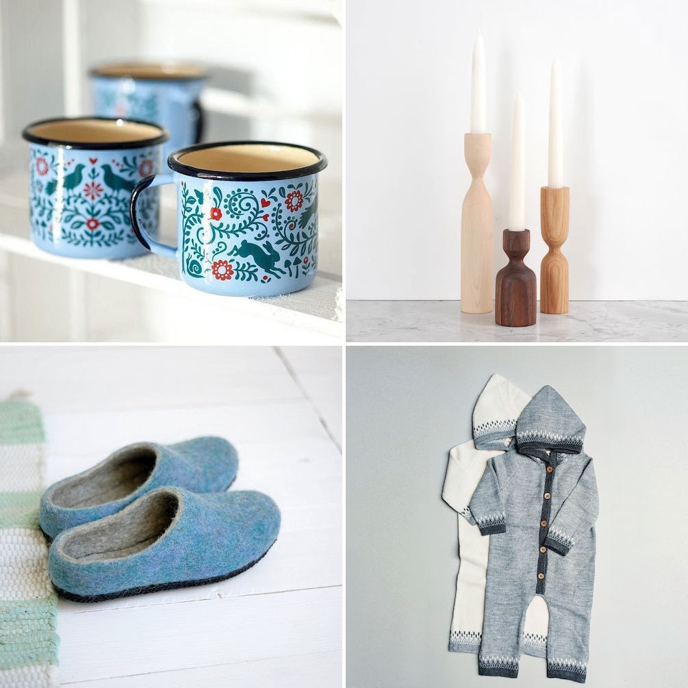 Collage of Nordic-inspired Etsy items: woodland enamel mugs, hand-turned wooden candlesticks, baby wool jumpers, and felt slippers