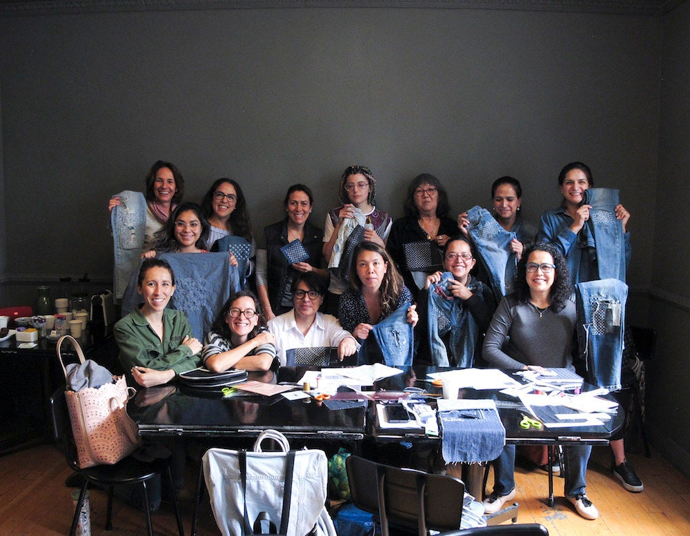Students at a sashiko workshop session in Mexico City