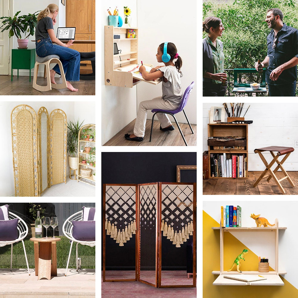 A collage of smart furnishings for small spaces available on Etsy