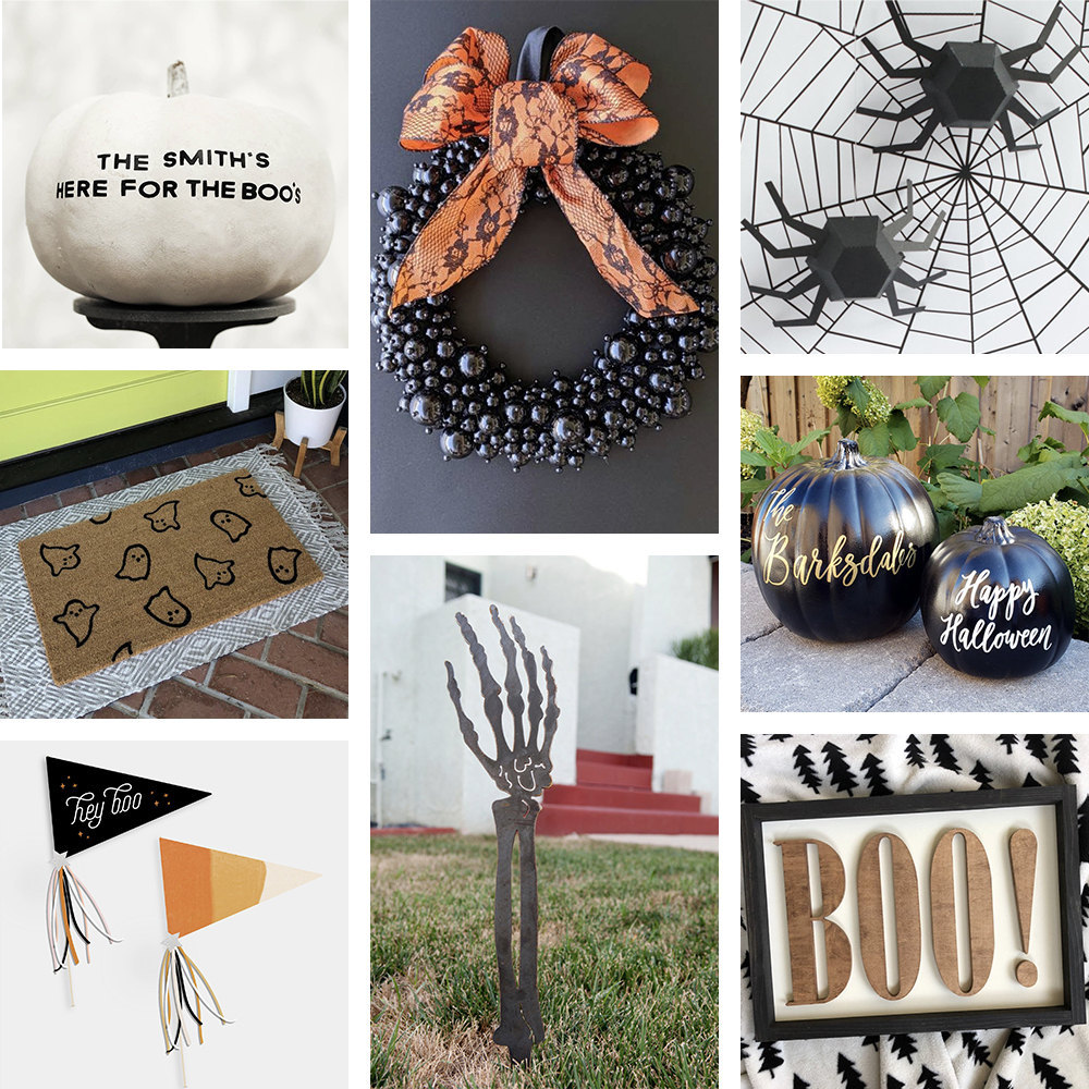 Collage of outdoor Halloween decor available on Etsy