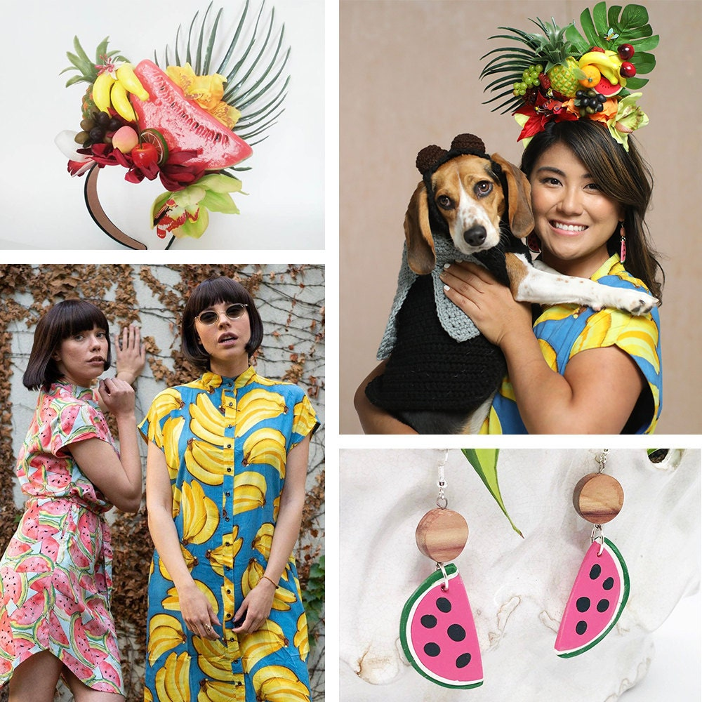 """A collage of items needed for a """"fruit fly"""" dog + human Halloween costume."""