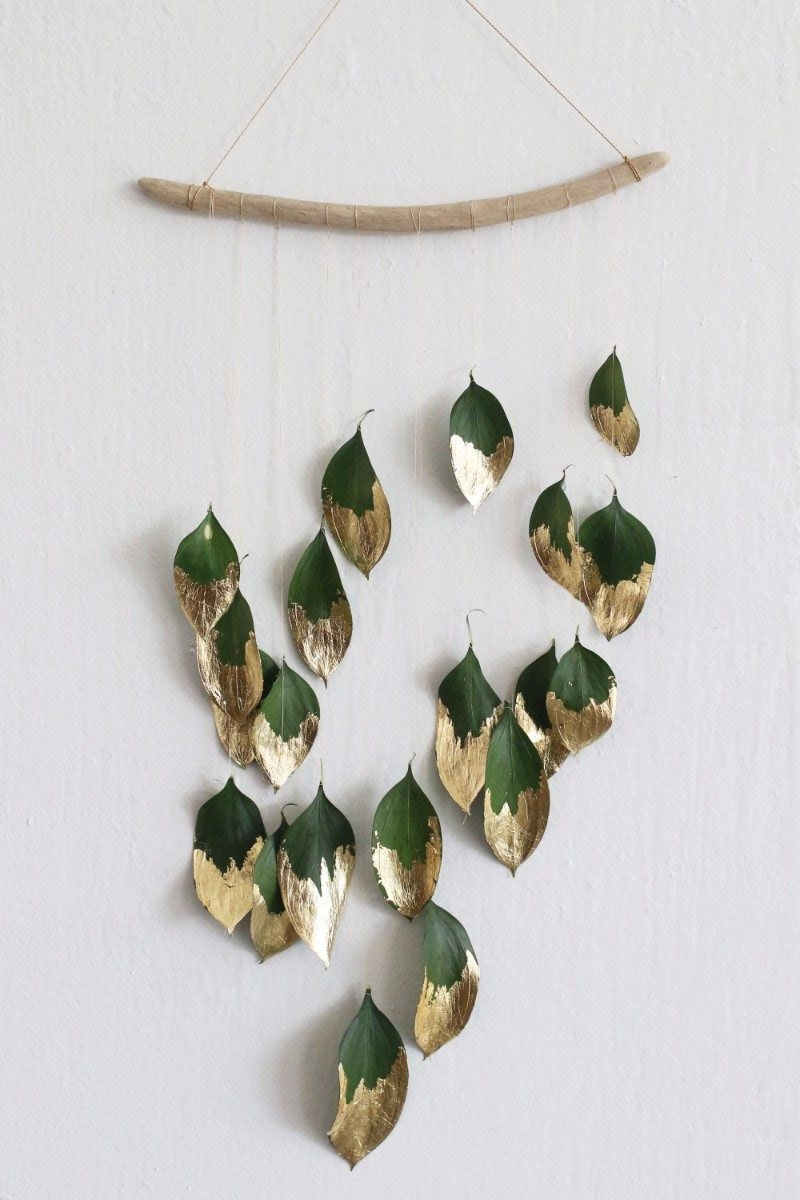 Finished DIY gold leaf wall hanging