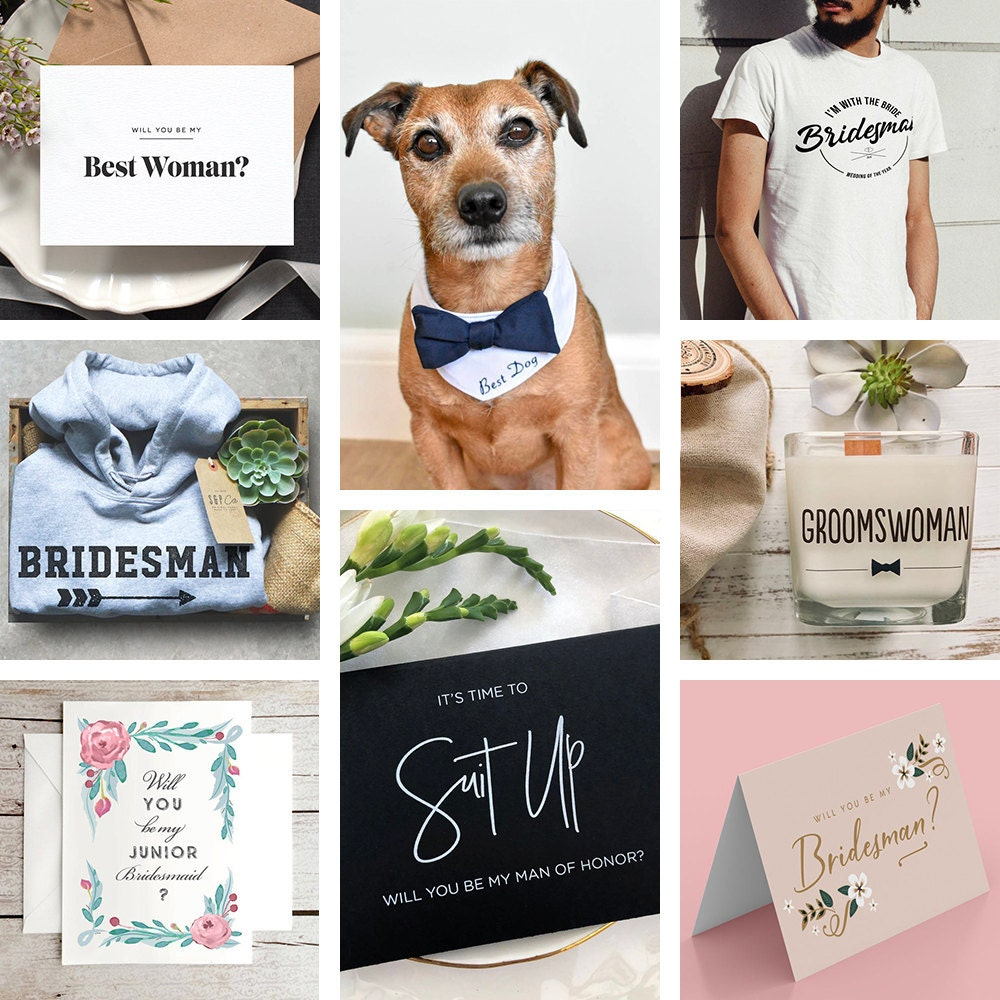 A collage of non-traditional wedding party proposals and gifts from Etsy.