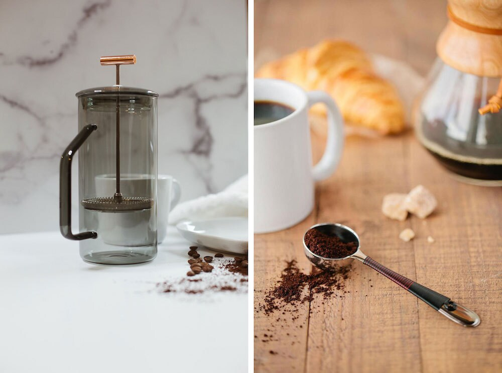 Glass French press and wire-wrapped coffee scoop from Etsy